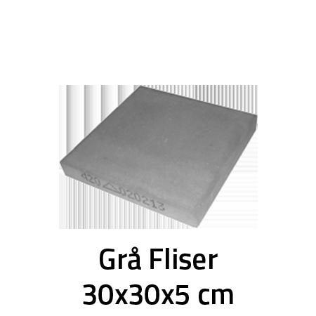 Grå Fliser 30x30x5 cm