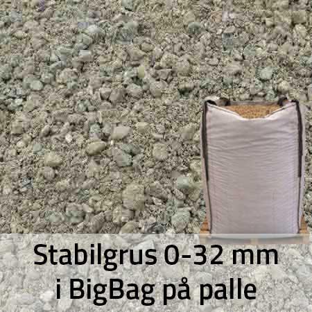 Stabilgrus 0-32 mm i BigBag på Palle